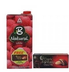 B-natural Fruit Juice, Litchi, 1000ml with Free Dark Fantasy Chocofills, 75g