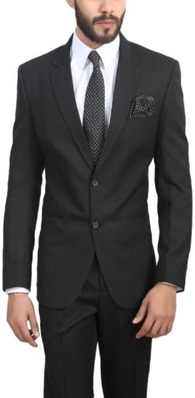 ManQ Solid Single Breasted Wedding, Formal Men's Blazer(Black)